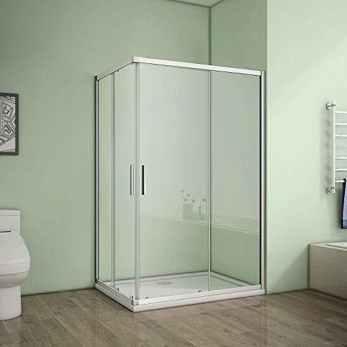 Duschkabine Eckeinstieg 90x76cm Duschabtrennung Dusche Schiebetür Duschwand 6mm ESG Sicherheitsglas Höhe 185cm