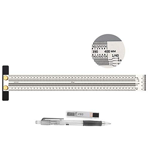 Ultra Precision Marking Ruler, T-type Hole Scale Scribing Ruler, Stainless Steel Square Woodworking Measuring Scale Tool for Carpentry Positioning Marking, Include Automatic Pencil 400mm