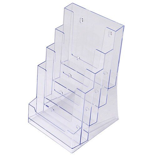 Prospekthalter DIN A5 vierstufig, Aufsteller Prospektständer Flyerhalter Acryl glasklar Prospekthalter A5