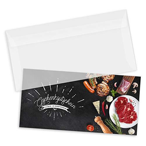 50 hochwertige Gutscheinkarten DIN-lang + 50 Kuverts. Gutscheine für Metzgerei Fleischhauerei. Vorderseite hochglänzend. M9238