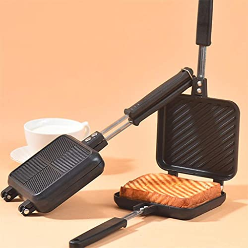 Doble lateral antiadherente sandwich fabricante pan tostado de pan de desayuno máquina de tostado tostado para hornear barbacoa molde de horno molde de grill sartén (color: b) ZJ666 (Color : A)