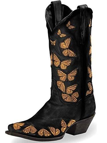 Minetom Damen Cowboy Stiefel Gefütterte Warm Plüsch Westernstiefel Biker Boots Winterstiefel Blockabsatz Stiefeletten B Schwarz 37 EU