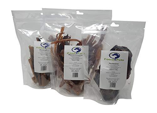 Food4Pets Pferde Hundeleckerli Mix1 750g - bestehend aus Pferd-Achillessehnen, Pferdeziemer und Pferdekopfhaut