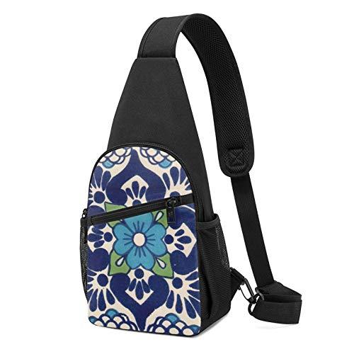 Sling Bag für Herren Anti-Diebstahl Schulterrucksack Leichte Crossbody Outdoor & Gym, - Bunte, spanische mexikanische Talavera doppelseitiger Überwurf, schwarz - Größe: Einheitsgröße