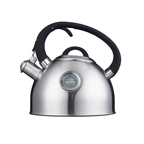 [2.6 Quart]Whistling Kettle, HOHSCHEID 18/10 Food-Grade Stainless Steel Stovetop Tea Kettles, Kettle Body with Visible Window of Maximum Waterline and Tea Pot Ergonomic Cool Handle(sliver)