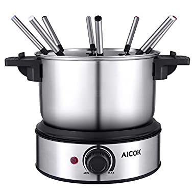 Aicok Stainless Steel Fondue Pot 1500W Fast Heating Up, Nonstick Interior for Easy Cleanup, 8 Colored Forks