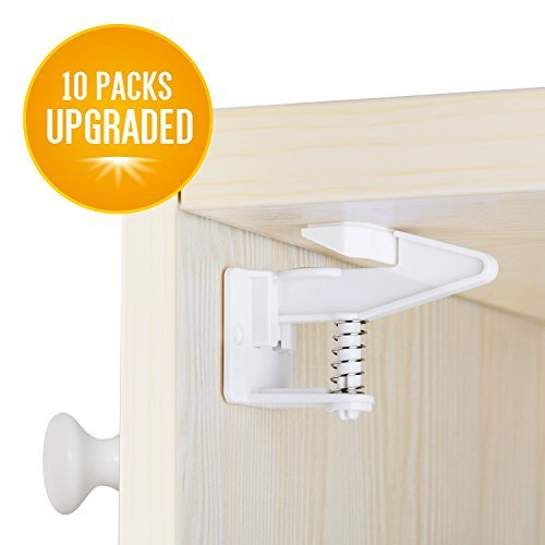 Cabinet Locks, Baby Proofing Child Safety Cabinets Locks 10 Packs, Easy Installing Safety Drawer Locks -No Need Tools Drilling Measuring for Drawers, Cabinets, Closets