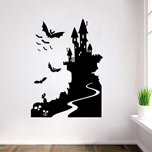 Adesivi murali Halloween-Pipistrelli neri e castelli Decorazioni per la casa Decalcomanie-Murali rimovibili rispettosi dell'ambiente