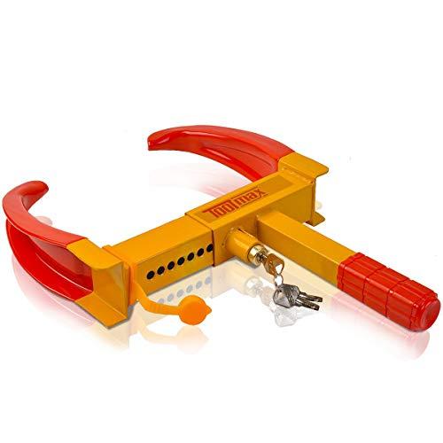 DREAMADE Wegfahrsperre aus Eisen-Material, Radkralle Parkkralle inkl. 3 Schlüsseln, Reifenkralle für Reifenbreite17,8 bis 28 cm
