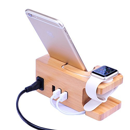 AICase Bamboo Wood USB Ladestation,Tischladestation,3 USB Ports 3.0 Hub, für iPhone 11 Pro max/XS/XS max/XR/X/8/7/7Plus/6s/6/Plus&38mm/42mm/44mm Apple Watch,Samsung & Die meisten Smartphones