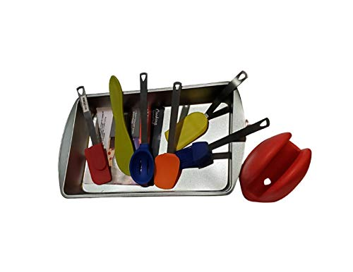 RobRoy Kitchen Mini Cooking Utensils with Silicone Grabber and Bonus Brownie Pan - Bundle Pack!!! for Kids and Adults