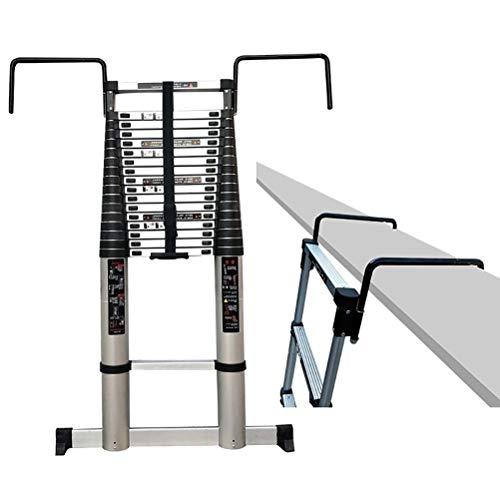 De aluminio telescópicos Ladder 16,5 pies, 440 Lb grande Capacidad de carga, escalera de extensión telescópica desmontable con gancho, estabilizador y parte inferior del peldaño ( tamaño : 16.5 ft )