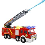 YongnKids Electronic Power Fire Truck Car Toy for Toddlers Kids Boys Girls Birthday Realistic Firetruck Toy with Water Shooting & Lights & Sounds & Extending Ladder Functions