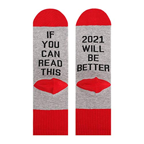 liaobeiotry Unisex Funny Saying Crew Socks If You Can Read This 2021 Will Be Better Hosiery Christmas Birthday New Year Gift