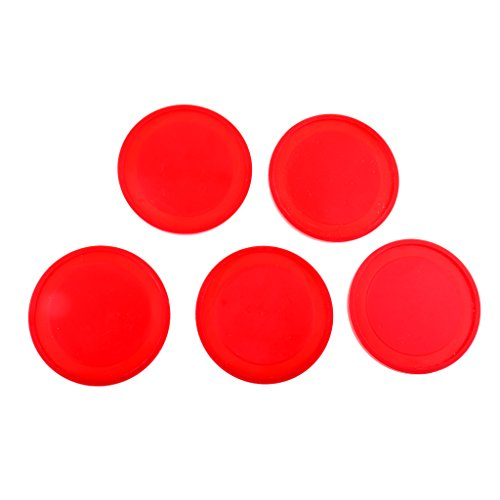 Buy Toygogo 5Pcs Durable Plastic Air Hockey Pucks Replacement for Indoor Game Tables - Red 60mm