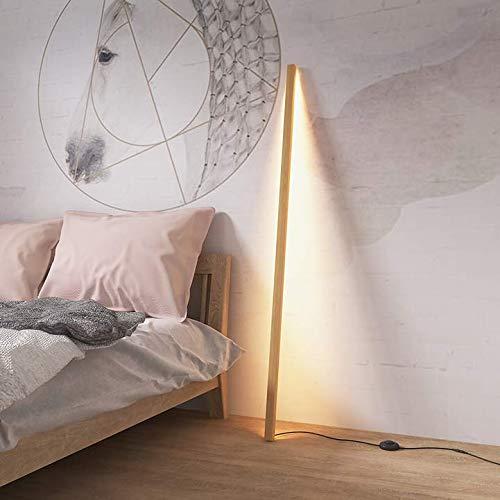 Staande lamp, stok-creatief, eenvoudig, massief houten lamp, lichaam, wit, wax, hout, Pvc, lampshade warm licht, led 1.50 vloerlamp met voetschakelaar voor slaapkamer, woonkamer, studeerkamer, kantoor