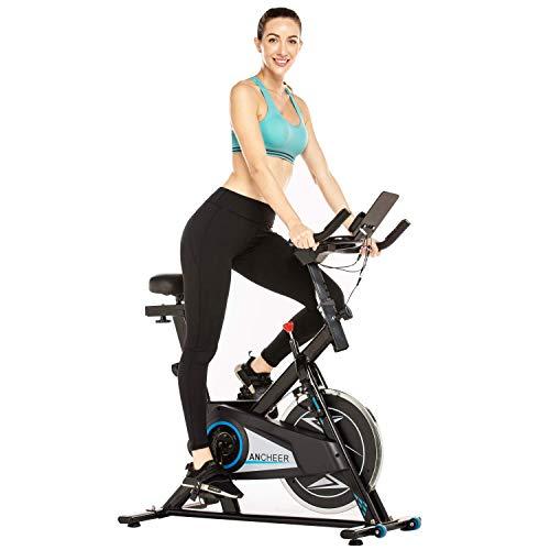 Bicicleta estática de spinning para entrenamiento en casa, silenciosa y suave, bicicleta estacionaria de ciclismo indoor para ejercicios cardiovasculares con volante accionado por correa, resistenci