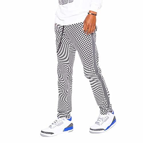 Skidz Track Pants - Trippy Check Black & White