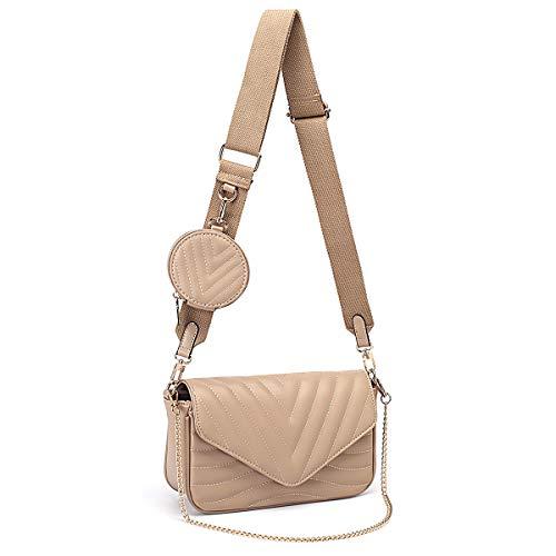Kleine gesteppte Crossbody-Taschen für Frauen, stilvolle Designer-Geldbörsen und Handtaschen mit Münzgeldbörse und verstellbarem Schultergurt, Beige (khaki), Small