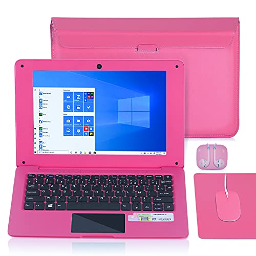 Ordinateur Portable 10.1 Pouces Windows 10 Netbook Quad Core Laptop avec WiFi, HDMI, Netflix,Youtube et Clavier Français AZERTY (Rose)