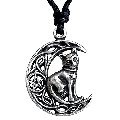 Cat Jewelry Celtic Crescent Moon Star Pentacle Pentagram Magic Wiccan Wicca Pagan Witch Witchcraft Protection Amulet Men's Pewter Pendant Necklace Lucky Good luck Charm Talisman Black Adjustable Cord