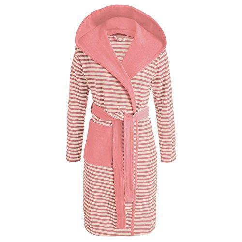 ESPRIT Bademantel Striped Dusty Pink mit Kapuze Streifen Größe: M
