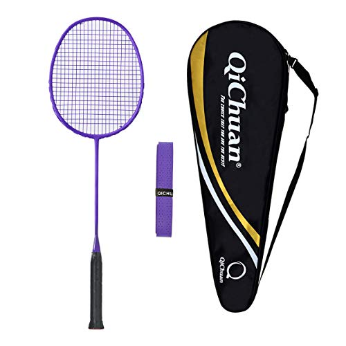 Whizz QICHUAN 100% Graphit One Piece Badminton Schläger Racket mit Tasche & Griffband (Lila)