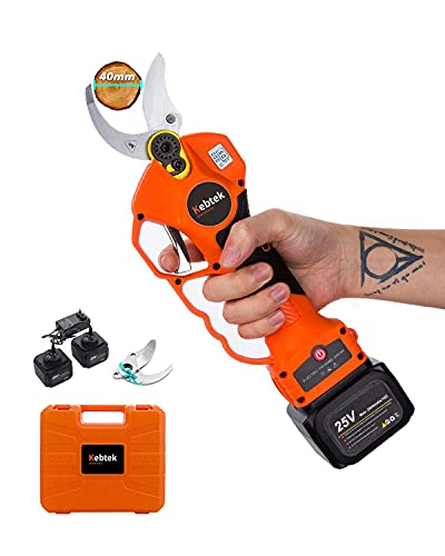 Kebtek Professional Pruning Shears Battery Powered, 25V Cordless Electric Pruning Shears with Brushless Motor,40mm [1.57 Inch] Cutting Diameter (40mm Orange LCD)