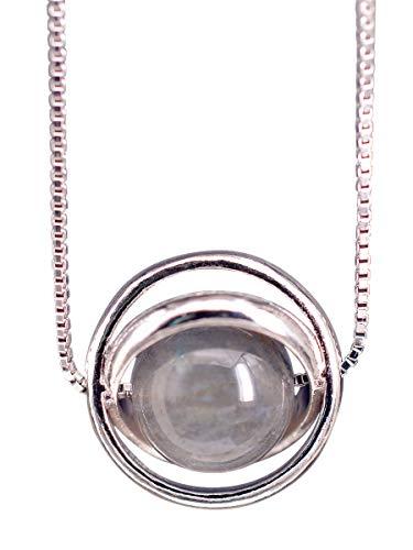 NicoWerk Damen Silberkette mit Anhänger Mondstein aus 925 Sterling Silber Kugel Kreis Stein Edelstein SKE296