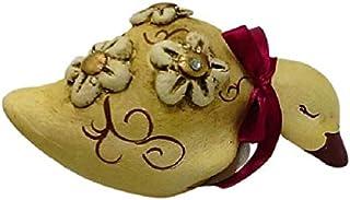 Papera in Ceramica Decorativa Da Mensola o Da Collezione, con Fiori e Cristalli, Le Ceramiche Del Re