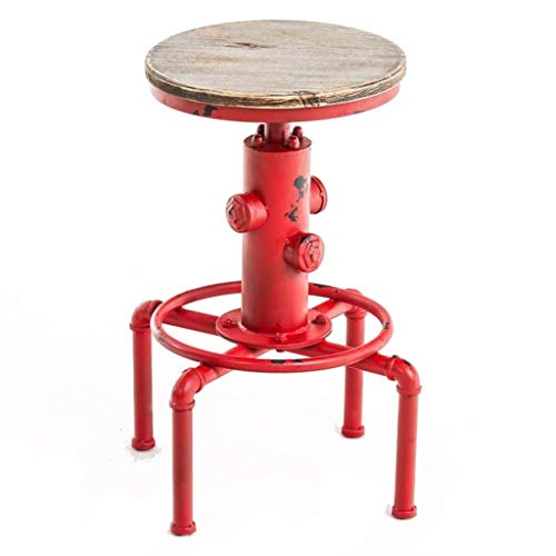 ZHAOYONGLI Hocker,Fußschemel,stühle hocker Antiker Vintage Industrieller Barhocker Massivholz Wasserpfeife Hydrant Design Cafe Kaffee Industrieller Barhocker (Color : Red, Size : 58-73cm)
