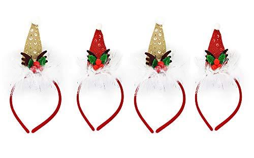 4 Piezas Diadema Navidad de Elfo en Diseño de Gorro Papá Noel, Sombrero de Santa Claus para Adultos y Niños, Cinta de Renos Lindos para el Cabello, Accesorios de Fotos de Fiesta