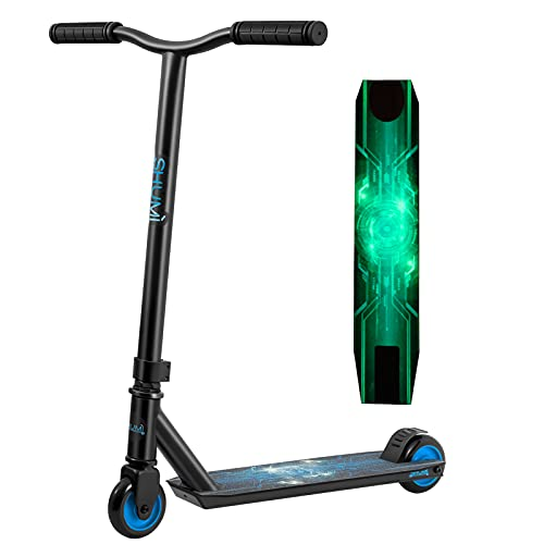 SHUMI Glow Pro Stunt Scooter Aluminum Beginner Trick Scooter for Kids 8 Years and Up, Kick Scooter for Boys and Girls Teens Adults Blue