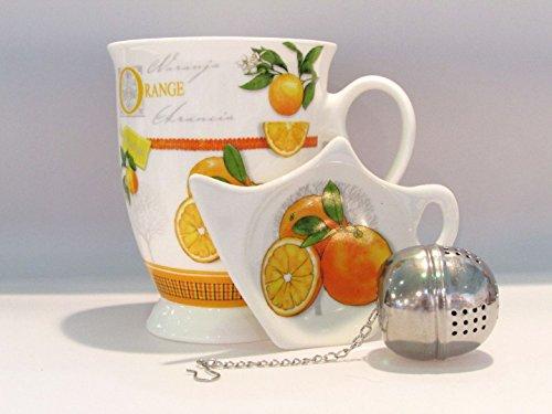 Gifts Of The Orient GOTO - Set da tè con piattino e uovo da tè, in confezione regalo, colore: Arancione