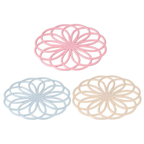 AOOPOO 3pcs Hueco Posavasos Antideslizantes Almohadillas Anti-escaldado para Tazón Taza, Salvamanteles Individuales Mantel Multiusos, Protector para Mesa con Forma de Flor (Rosa, Azul, Beige)