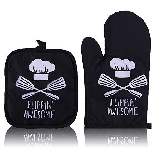 Chingde Backofen Handschuhe, 2 Stück Backofenhandschuhe Set Backhandschuhe Ofenhandschuhe Hitzebeständige Handschuhe Backofen Topflappen Handschuh Set für Kochen, Backen