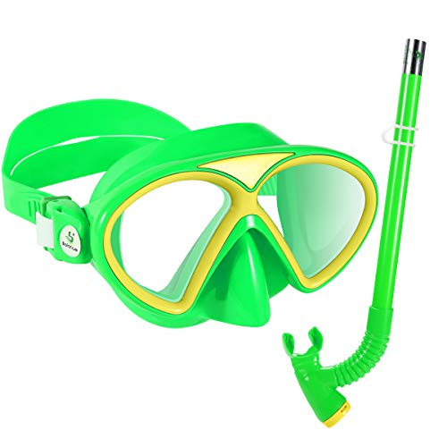 KUYOU Kids Snorkel Set Children AntiFog Scuba Diving Mask Swimming Goggles SemiDry Snorkel Equipment Snorkeling Packages Swimming Gear Age 4 Plus for Youth Boys Girls Green