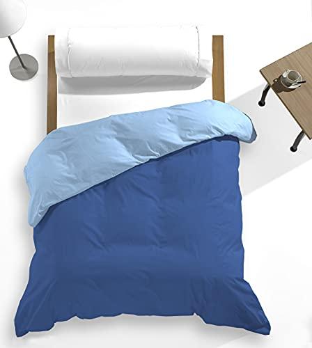 Catotex - Funda nórdica Reversible Bicolor Liso para edredón 50% algodón 50% Poliester. Cama de 105 cm Azul/Zafiro