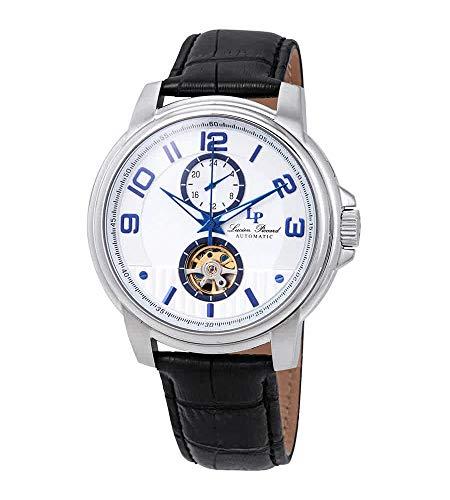 Lucien Piccard Open Heart Automatic Silver Dial Men's Watch LP-28001A-02S-BLA