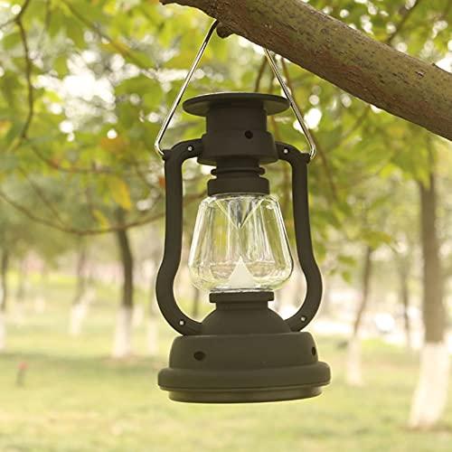 ZXD Linterna LED para Acampar Recargable con energía Solar, 3 Modos de iluminación, Estilo Vintage, luz de Tienda portátil para Acampar, Exteriores, hogar y más,Negro