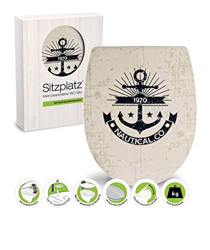 SITZPLATZ® WC-Sitz mit Absenkautomatik günstig, Maritim Dekor Anker, abnehmbarer Thermoplast Toilettensitz, universale O Form, mit Top-Fix Befestigung von oben, Toilettendeckel preiswert, 40687 1
