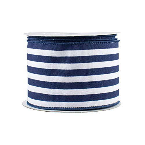 GiftWrap Etc. Navy White Stripe Wired Ribbon - 2 1/2' X 10 Yards, Satin, President's Day, Nautical, 4Th Of July, Christmas Tree Decorations, Decor For Garlands, Gifts, Wrapping, Wreaths, Bows, Swag