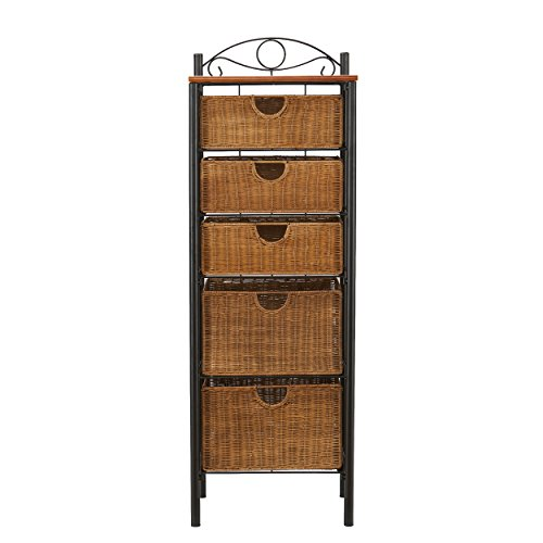 5 Drawer Storage Unit w/ Wicker Baskets - Versatile Tower - Wrought Iron Frame