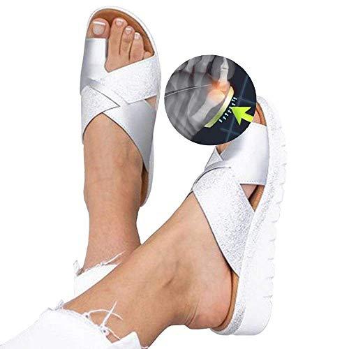 W&TT Ballen Schienen,Bequeme Plateausandalenschuhe für Damen mit Bunion Corrector-Funktion,Hallux Valgus-Sandalen-Schuhe für große Zehen,Silver,41