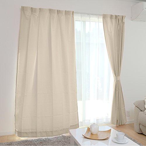 アイリスプラザ カーテン すぐ使える4枚セット(レースカーテン付) 洗える 洗濯機対応 幅100cm×丈135cm アイボリー