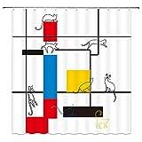 XCBN Blaues Muster Abstrakte Moderne Malerei Mondrian Farbe Bauhaus Wasserdicht Polyester Stoff Duschvorhang A2 150x200cm