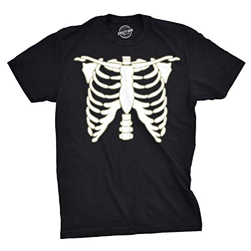 Crazy Dog Tshirts - Mens Glowing Skeleton Rib Cage Cool Halloween Costume Glow in The Dark T Shirt (Black) - L - Herren - L