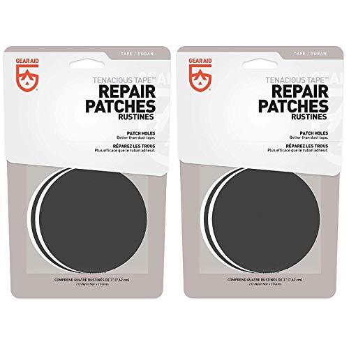 GEAR AID Tenacious Tape Repair Patches Clear & Black 3' Round Flexible (2-Pack)