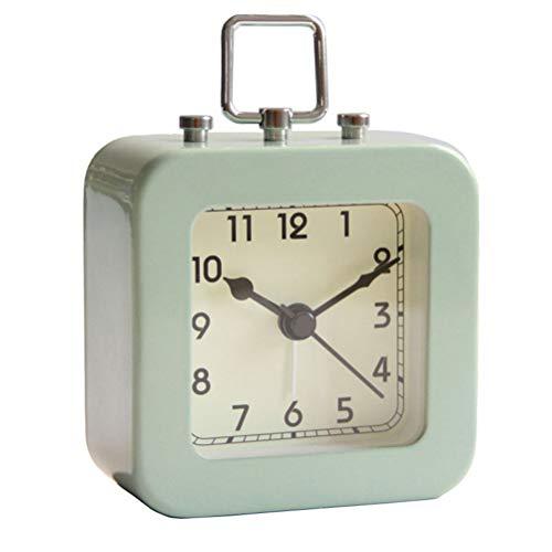 IMIKEYA Reloj Despertador Vintage Reloj de Escritorio silencioso Cuadrado de Metal para la Sala de Estar del Dormitorio