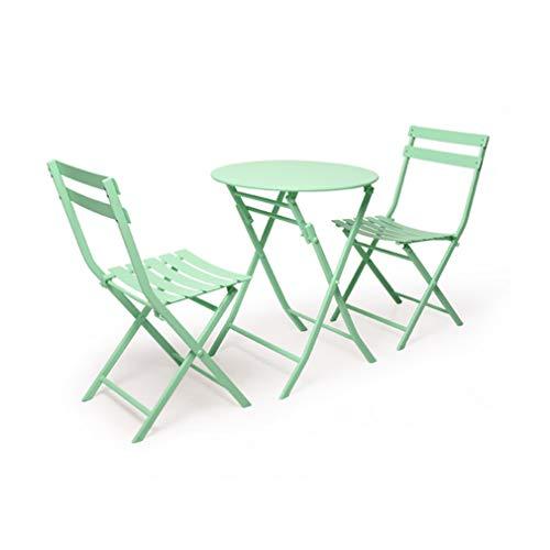 ECSD opvouwbare tuintafel en stoel, metalen buitenterras Bistro tuinmeubelen, set van tafel en 2 stoelen